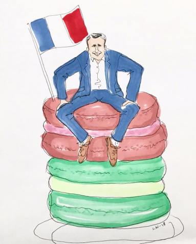 Emmanuel Macron on a pile of macarons